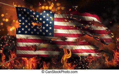 usa, brûlé, brûler, drapeau, nuit, amérique, guerre, conflit, 3d