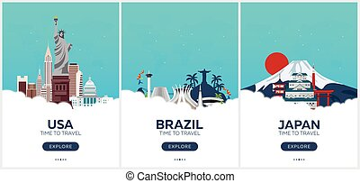USA, Brazil, Japan. Time to travel. Set of Travel posters....