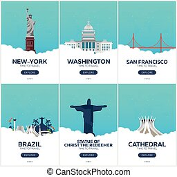 USA, Brazil. Time to travel. Set of Travel posters. Vector...