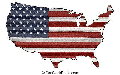 usa, brique, drapeau