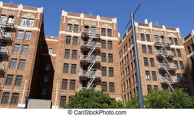 usa., brique, typique, résidentiel, sortie, sûr, propriété, ...