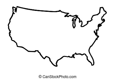 Clip Art Vector Of USA Map Outline With United States Flag Vector - Usa map eps