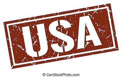 usa brown square stamp