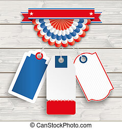 USA Bunting 3 Price Stickers Wood