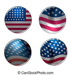 USA Buttons stars & stripes
