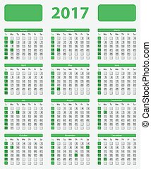 USA calendar 2017, with official holidays and non-working...