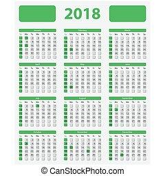 USA calendar 2018 - official holidays