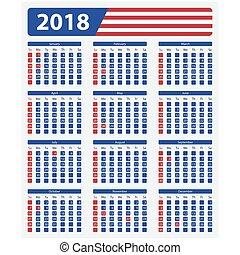 USA calendar 2018, official holidays