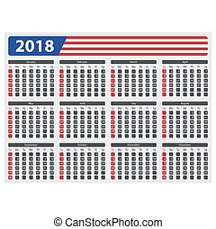 USA calendar 2018 - without official holidays