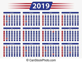 USA calendar 2019 with official holidays, 5x7 in