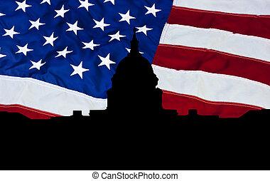 USA capital building silhouette
