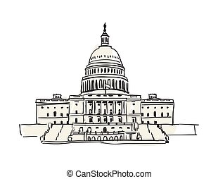USA Capitol building in Washington hand drawn icon