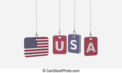 USA caption and flag the United States on swinging plates, loopable intro animation. Alpha matte for easy background change