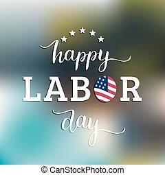 usa, card., heureux, vecteur, flag., américain, vacances, national, fête, main, jour, illustration, main-d'œuvre, affiche, lettering.