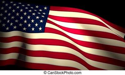 usa, cg, seamless, nous, drapeau ondulant, closeup, backlit, américain, boucle