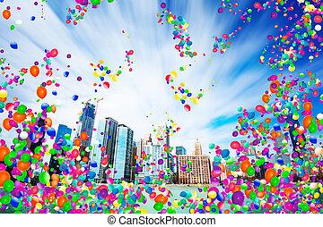 usa, chicago, air, cityscape, ballons, vue