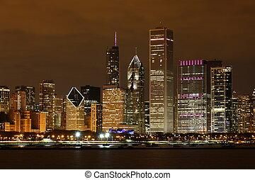 usa, chicago, /, en ville, planétarium, adler, vue