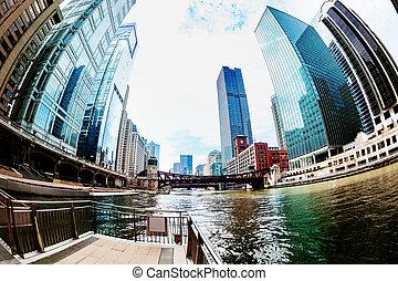 usa, chicago, gratte-ciel, en ville, cityscape, rivière