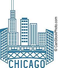 usa, chicago, illinois, horizon, vecteur, conception, ...