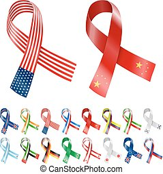 Flag Ribbon - USA, China and other Biggest country National...