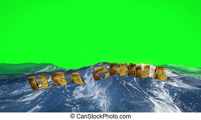 USA China text floating in the water against green screen