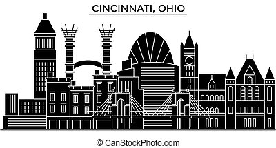 Usa, Cincinnati, Ohio architecture vector city skyline, travel cityscape with landmarks, buildings, isolated sights on background
