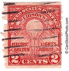 USA - CIRCA 1929 : stamp printed in USA Celebrates 50th...