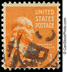 USA- CIRCA 1938: A stamp printed in USA shows portrait of Benjamin Franklin (1706-1790), circa 1938