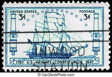 USA - CIRCA 1947 Frigate Constitution