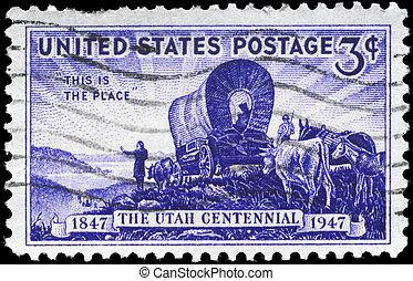 USA - CIRCA 1947 Utah Settlement - USA - CIRCA 1947: A Stamp...