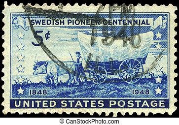 USA - CIRCA 1948 Swedish Pioneer - USA - CIRCA 1948: A Stamp...