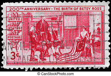 USA - CIRCA 1952 Betsy Ross - USA - CIRCA 1952: A Stamp...