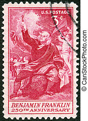 "USA - CIRCA 1956: A stamp printed in the USA shows ""Franklin Taking Electricity from the Sky"" by Benjamin West, 250th anniversary of the birth of Franklin, circa 1956"