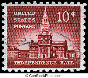 USA - CIRCA 1956: A Stamp printed in USA shows Independence Hall, Philadelphia, Pennsylvania, Liberty Issue, circa 1956