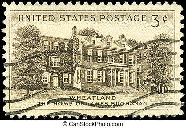 """USA - CIRCA 1956: A Stamp printed in USA shows President Buchanan's Home, """"Wheatland,"""" Lancaster, circa 1956"""