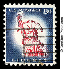 A postage stamp printed in USA, shows one of the symbols of ...