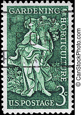 USA - CIRCA 1958: A Stamp printed in USA shows Bountiful Earth allegory, devoted to Garden clubs of America and century of the birth of Liberty Hyde Bailey, horticulturist, circa 1958