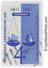 USA - CIRCA 1961 : post stamp printed in USA shows Workmen's Compensation Law in Wisconsin, 1961