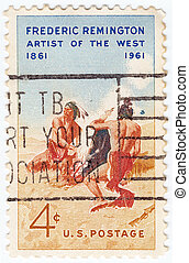 USA - CIRCA 1961: stamp printed in USA shows Remington's 'Smoke Signal', circa 1961