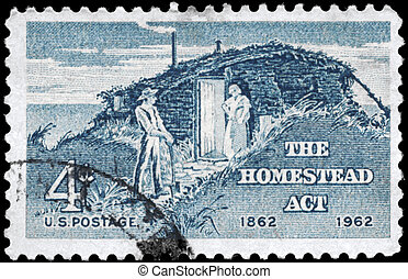 USA - CIRCA 1962: A Stamp printed in USA shows the Sod Hut and Settlers, Homestead Act Centenary, circa 1962