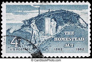 USA - CIRCA 1962 Homestead - USA - CIRCA 1962: A Stamp...