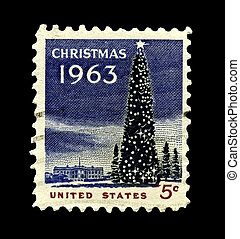 USA - CIRCA 1963-  America's Christmas postage stamp shows the White House and the National Christmas Tree in Washington DC.