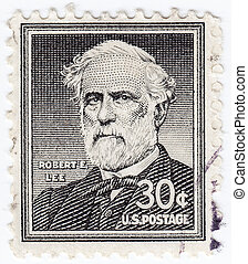 USA - CIRCA 1963 : stamp printed in USA shows former United States Army officer Robert E. Lee , circa 1963