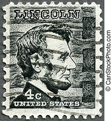 USA - CIRCA 1965: A stamp printed in USA shows President...