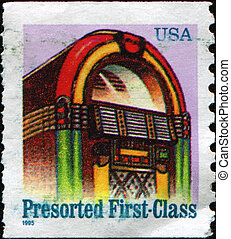 juke box - USA - CIRCA 1968: A first-class letter presort...