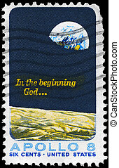USA - CIRCA 1969: A Stamp printed in USA shows the Moon Surface and Earth, Apollo 8 Issue, circa 1969