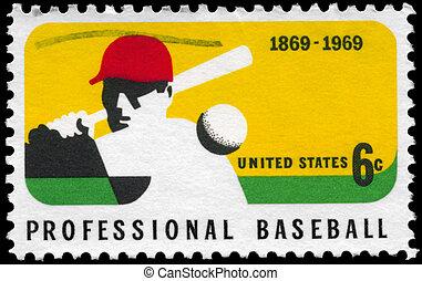 USA - CIRCA 1969: A Stamp printed in USA shows a Batter, Professional Baseball Centenary, circa 1969