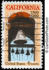 USA - CIRCA 1969: A Stamp printed in USA shows the Carmel Mission Belfry, California Settlement, 200th anniversary issue, circa 1969