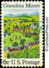 USA - CIRCA 1969: A Stamp printed in USA shows July Fourth, by Grandma Moses (1860-1961), primitive painter of American life, circa 1969