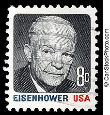 A stamp printed in USA shows Portrait President Dwight David...